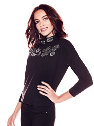 Display product reviews for Soho Street - Embellished Mock-Neck Sweatshirt - Black
