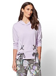 Display product reviews for Soho Street - Lace-Up Hooded Sweatshirt