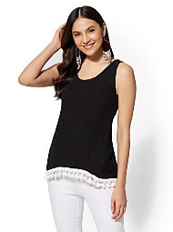 Display product reviews for Tassel-Trim Cotton Knit Tank Top