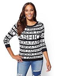 "Display product reviews for ""Moda Fashion"" Black & White Sweater"