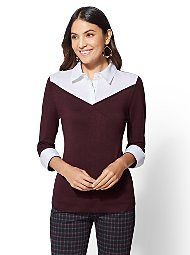 Display product reviews for 7th Avenue - Maroon Twofer Sweater