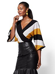 Display product reviews for 7th Avenue - Stripe V-Neck Wrap Sweater