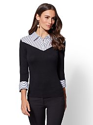 Display product reviews for 7th Avenue - Black Stripe Twofer Sweater