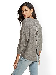 Display product reviews for Metallic Lace-Up Back Sweater