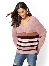 Display product reviews for Stripe V-Neck Tunic Sweater