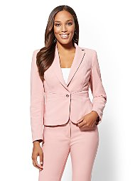 Display product reviews for 7th Avenue - Pink One-Button Jacket - All-Season Stretch