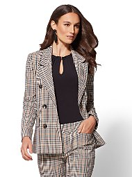 Display product reviews for 7th Avenue - Gold Plaid Double-Breasted Jacket