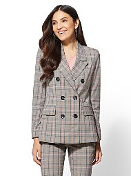 Display product reviews for 7th Avenue - Pink Plaid Double-Breasted Jacket