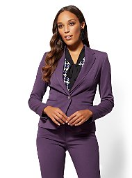 Display product reviews for 7th Avenue - Plum One-Button Ruffled Jacket -Superstretch