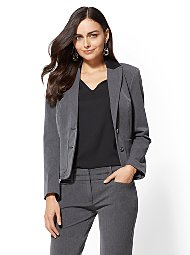 Display product reviews for 7th Avenue Grey Contrast-Trim One-Button Jacket
