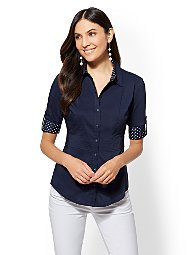 Display product reviews for 7th Avenue - Contrast-Trim Madison Stretch Shirt