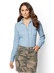 Display product reviews for Blue Studded Chambray Shirt