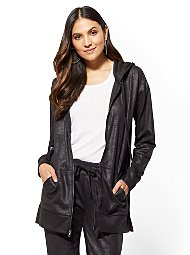 Display product reviews for Soho Street - Black Zip-Front Hooded Jacket