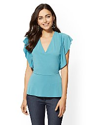 Display product reviews for 7th Avenue - V-Neck Ruffled Peplum Top