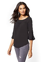 Display product reviews for Flare-Cuff Scoopneck Top