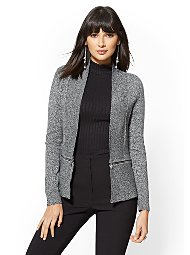Display product reviews for 7th Avenue - Marled Zip-Accent Cardigan