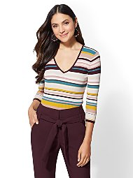 Display product reviews for 7th Avenue - Stripe V-Neck Sweater