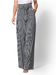 Display product reviews for 7th Avenue Pant - Paperbag-Waist Palazzo - Green Stripe