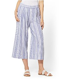 Display product reviews for Soho Street - Blue Striped Linen Gaucho Pant