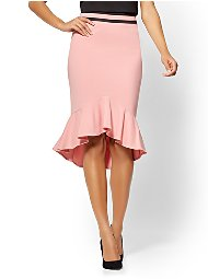 Display product reviews for 7th Avenue Pink Flounced Pencil Skirt - All-Season Stretch