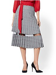 Display product reviews for 7th Avenue - Mesh-Inset Plaid Pleated Skirt
