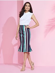Display product reviews for 7th Avenue - Striped Trumpet Skirt