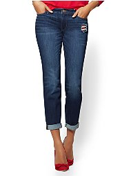 Display product reviews for Soho Jeans - Embroidered & Destroyed Curvy Boyfriend - Blueberry Wash