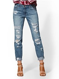 Display product reviews for Soho Jeans - Retro Destroyed Curvy Boyfriend - Force Blue
