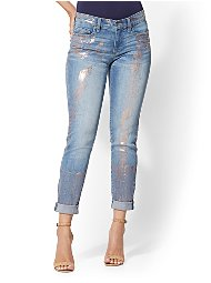 Display product reviews for Soho Jeans - Metallic Foil Curvy Boyfriend