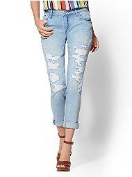 Display product reviews for Soho Jeans - Rip & Repair Curvy Boyfriend - Blue Funk Wash