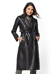 Display product reviews for Black Faux-Leather Trench Coat
