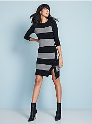 Display product reviews for Button-Trim Stripe Sweater Dress