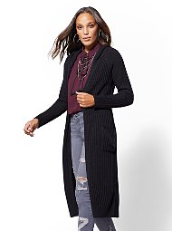Display product reviews for Hooded Ribbed-Knit Duster Cardigan