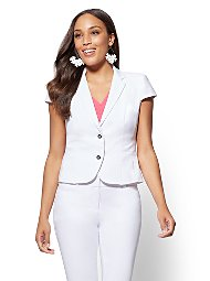 Display product reviews for 7th Avenue - Petite Lace-Up Two-Button Jacket - All-Season Stretch