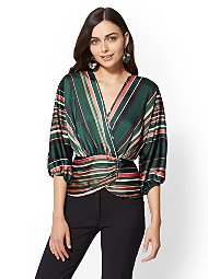 Display product reviews for 7th Avenue - Tall Stripe Dolman Wrap Blouse