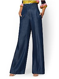 Display product reviews for 7th Avenue Pant - Tall Navy Paperbag-Waist Palazzo