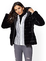 Display product reviews for Reversible Quilted Faux-Fur Hooded Coat