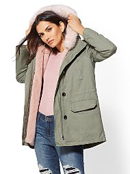 Display product reviews for Olive Faux Fur-Lined Hooded Anorak Jacket