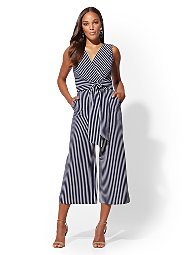 Display product reviews for Navy Stripe Wrap Jumpsuit