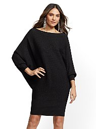 Display product reviews for Metallic Dolman Sweater Dress