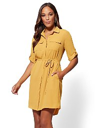 Display product reviews for Gold Belted Shirtdress