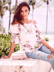 Display product reviews for Sweet Pea - Floral Ruffled Off-The-Shoulder Blouse