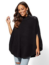 Display product reviews for Button-Accent Poncho