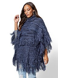 Display product reviews for Tiered Fringe Marled Poncho