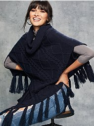 Display product reviews for Cowl-Neck Fringe Poncho