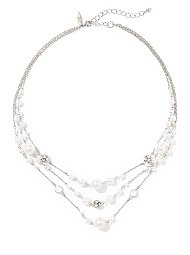 Display product reviews for 3-Row Faux-Pearl Illusion Necklace