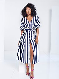 Display product reviews for Gabrielle Union Collection - Petite Striped Kimono Dress