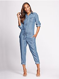 Display product reviews for Gabrielle Union Collection - Tall Denim Jumpsuit - Cold Blue