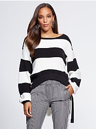 Display product reviews for Gabrielle Union Collection - Stripe Hi-Lo Sweater