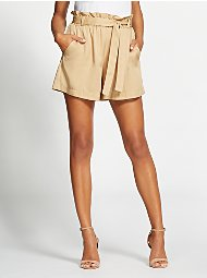 Display product reviews for Gabrielle Union Collection - Beige Paperbag-Waist Short